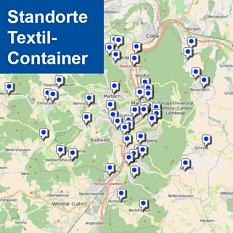 Karte der Textilsammelcontainer in Marburg©Universitätsstadt Marburg Fachdienst Umwelt, Fairer Handel, Abfallwirtschaft