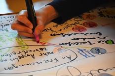 Man sieht eine Hand, die mit einem bunten Stift etwas auf ein großes Papier schreibt.©Universitätsstadt Marburg