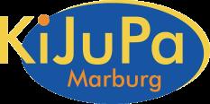 Das Kijupa-Logo, ein blaues Oval mit gelber und oranger Schrift: KiJuPa Marburg©Universitätsstadt Marburg