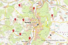 Eine Karte von Marburg mit Markierungen für Kinder- und Jugendräume in Marburg.©Universitätsstadt Marburg