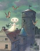 Das kleine Gespenst schwebt mit einem Schlüsselbund über der Burg umgeben von Fledermäusen.