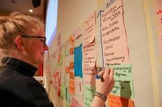 Jede Gruppe illustrierte ihre Vorschläge auf Plakaten, die zur Abschlussrunde auf der Bühne angebracht wurden.©Birgit Heimrich, Stadt Marburg