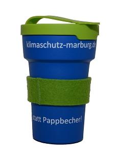 """Das Foto zeigt den Klimaschutz-Kaffeebecher: """"Klimaschutz statt Pappbecher""""©Universitätsstadt Marburg"""