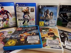 Auswahl an Konsolenspielen PS3, PS3 und Wii