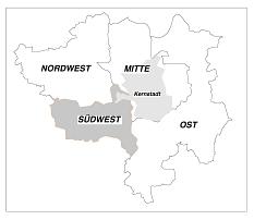 Lageplan zu Anordnung der Landschaftspläne der Universitätsstadt Marburg, Geltungsbereich des Landschaftsplanes Südwest©Universitätsstadt Marburg