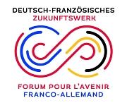 Das Logo des Deutsch-Französischen Zukunftswerks. Es ähnelt einem Unendlich-Zeichen in den Farben blau, rot, gelb und schwarz.