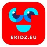 Rotes Logo eKidz mit blauen Augen und Mund©eKidz.eu GmbH
