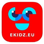 Rotes Logo eKidz mit blauen Augen und Mund