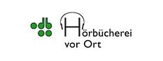 """Logo des Projekts """"Hörbücherei vor Ort"""" mit einem Kopfhörer und dem Text.©Deutsche Blindenstudienanstalt e.V."""