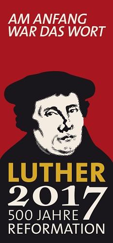"""Logo Lutherjahr 2017 mit Portrait Luthers und Schriftzug """"500 Jahre Reformation""""©Luther2017"""
