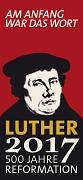 """Logo Lutherjahr 2017 mit Portrait Luthers und Schriftzug """"500 Jahre Reformation"""""""