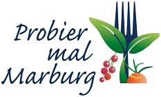 Das Logo mit einer Gabel und Obst, Gemüse sowie Kräutern zeigt an, was essbar ist.©Stadt Marburg
