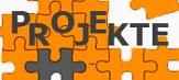 """Logo für """"Projekte"""" bestehend aus orangen und einem grauen Puzzleteil©Universitätsstadt Marburg"""