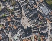 Luftaufnahme eines Ausschnittes vom Marktplatz Marburg