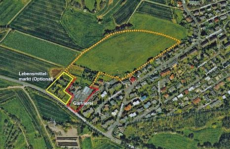 Luftbild Rotenberg: Rund fünf Hektar umfasst das potenzielle Wohngebiet am oberen Rotenberg (orangefarbene Markierung) Dort könnten etwa 200 neue Wohnungen entstehen.©Universitätsstadt Marburg