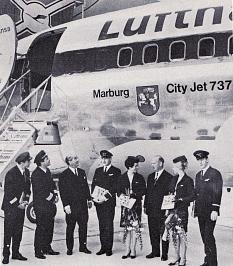 Lufthansa-Flugzeug mit Marburg Schriftzug©Heinz Eifert
