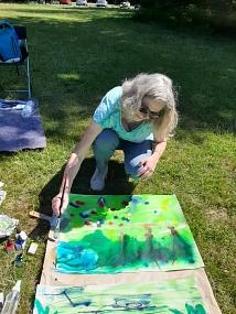 Magdalena Fritz malt am Kölner Grüngürtel (mit Elisabeth Csepeli)