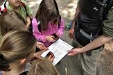 Mehrere Kinder und ein Mitarbeiter stehen im Kreis. Von einem Blatt werden Daten in GPS-Geräte eingegeben.©Universitätsstadt Marburg