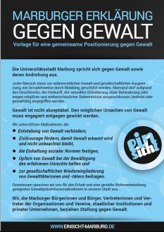 Marburger Erklärung gegen Gewalt©Universitätsstadt Marburg