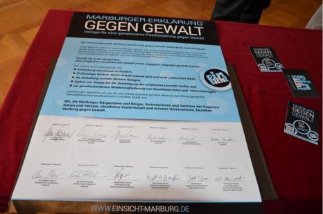 Marburger Erklärung gegen Gewalt_Foto©Universitätsstadt Marburg