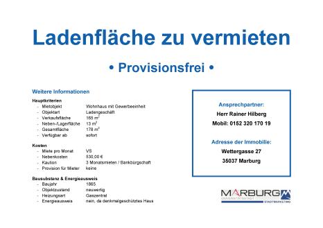 Marburger FreiRAUM: Kontaktblatt Wettergasse 27©Stadtmarketing Marburg e. V.