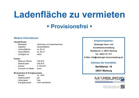 Marburger FreiRAUM: Kontaktdatenblatt Barfüßerstraße 18©Stadtmarketing Marburg e. V.