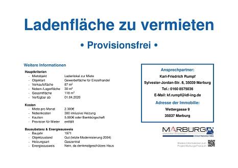 Marburger FreiRAUM: Kontaktdatenblatt Reitgasse 13-15©Stadtmarketing Marburg e. V.
