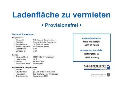 Marburger FreiRAUM: Kontaktdatenblatt Wettergasse 23©Stadtmarketing Marburg e. V.