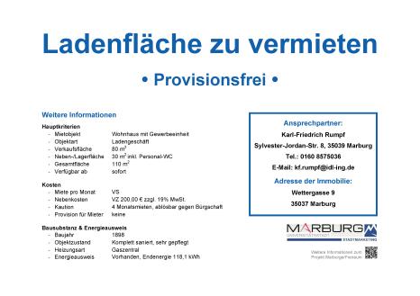 Marburger FreiRAUM: Kontaktdatenblatt Wettergasse 9©Stadtmarketing Marburg e. V.