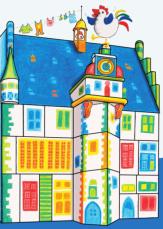 Die Postkarte von Maribel mit dem Rathaus und dem Gockel, gemalt.©Universitätsstadt Marburg