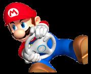 Super Mario, der Fahrer mit roter Rennmütze, hält das weiße Lenkrad fest in der Hand.