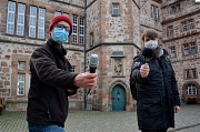 Martin Schäfer (links) und Michael Heuser (rechts) haben einen Podcast gestartet, der sich mit dem Leben in Marburg beschäftigt.