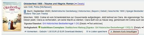 Screenshot Medientitel im Onlinekatalog©Universitätsstadt Marburg