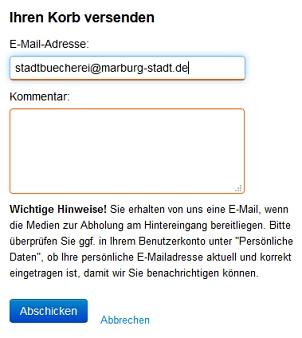 Screenshot mit Eingabe der Daten für die Versendung des Medienkorbs.©Universitätsstadt Marburg