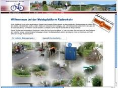 Meldeplattform Radverkehr (Darstellung der Internetseite als Schnappschuss)©Meldeplattform Radverkehr