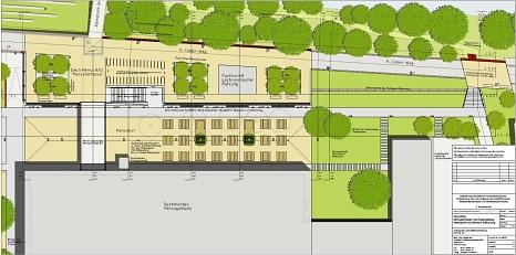 Mensaterrasse mit Zugangssteg ,Lageplan 2. Bauabschnitt©Universitätsstadt Marburg