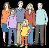 Bild von Menschen, die verschieden alt sind©Lebenshilfe für Menschen mit geistiger Behinderung Bremen e.V., Illustrator Stefan Albers, Atelier Fleetinsel, 2013