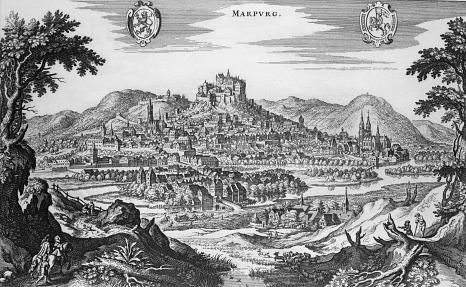 Merian-Ansicht von Marburg 1646 - vom Ortenberg gesehen©Universitätsstadt Marburg