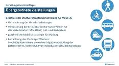 Zu den übergeordneten Zielstellungen von MoVe 35 gehört es, eine ganzheitliche Mobilitätsstrategie für Marburg zu entwickeln.©Planersocietät