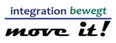 Das Logo zum Integrationswettbewerb move it! Oben der Schriftzug integration bewegt, darunter eine Linie und unten der Schriftzug move it!©Universitätsstadt Marburg