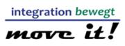 Das Logo zum Integrationswettbewerb move it! Oben der Schriftzug integration bewegt, darunter eine Linie und unten der Schriftzug move it!