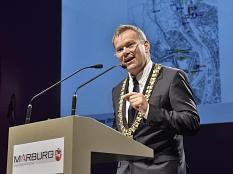 Oberbürgermeister Dr. Thomas Spies will mit Gerechtigkeit, Respekt, Rücksicht, Besonnenheit und Beteiligung die Zukunft der Stadt gestalten.©Georg Kronenberg, Stadt Marburg
