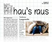 """Ein Teil der Titelseite des Newsletter der Jugendförderung """"hau's raus"""", nach unten hin wird der Inhalt ausgeblendet."""