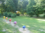 Ansicht des Northamptonarkes mit Blick über die bunten Lollipops