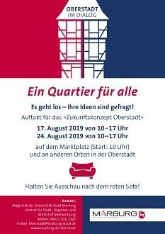 Mit diesem Flyer wirbt die Universitätsstadt für die Aktion Rotes Sofa im Rahmen des Zukunftskonzeptes Oberstadt.©Universitätsstadt Marburg