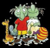 Zwei grüne Olchis mit Giraffe und Ball lachen verschmitzt©Copyright: Verlag Friedrich Oetinger, Hamburg