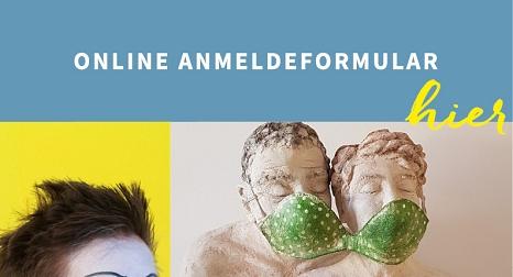 Banner Online Anmeldeformularder Marburger Sommerakademie, Foto Teilausschnitt Pantomime Gesicht, Foto Plastik zwei Köpfe mit BH als Maske, die sich die zwei Personen teilen©Mirjam Klein