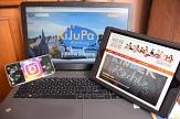 """Smartphone, Tablet und Laptop mit unterschiedlichen Känalen, auf denen Jugendförderung und Jugendbildungswerk """"unterwegs"""" ist.©Universitätsstadt Marburg"""