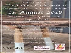 Plakat 1. Dorfkulturtour in Cyriaxweimar am11.Aug.2018©Immi Griesel