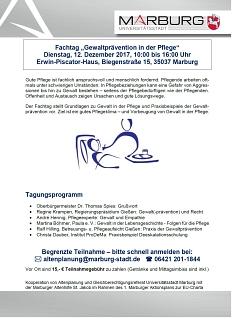 """Plakat Fachtag """"Gewaltprävention in der Pflege""""©Universitätsstadt Marburg"""